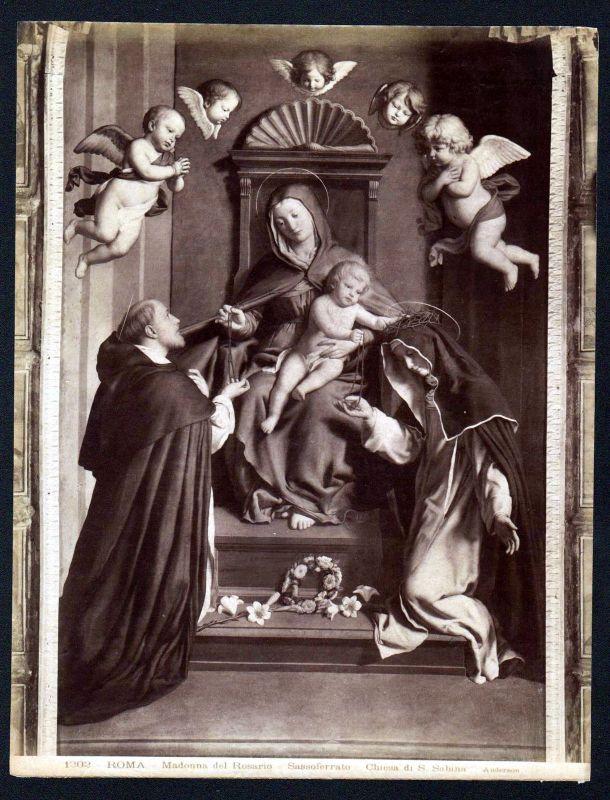Ca 1880 Madonna del Rosario Sassoferrato Roma albumen Foto photo vintage antique