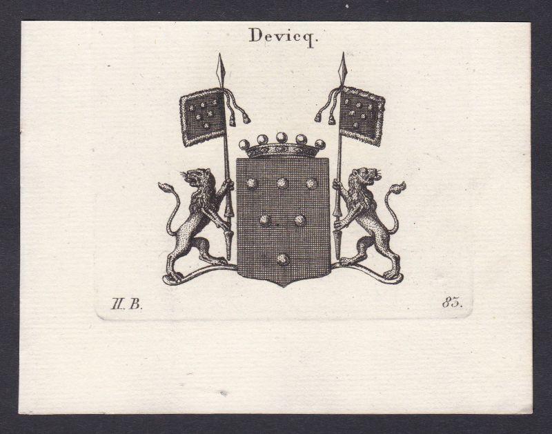 Devieq Wappen Adel coat of arms heraldry Heraldik Kupferstich antique print