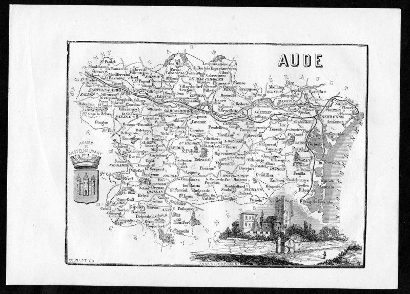 1860 - Aude Carcassonne Narbonne Frankreich France Departement Karte map