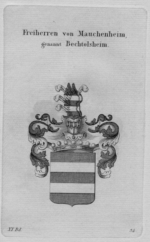 1820 - Mauchenheim Wappen Adel coat of arms heraldry Heraldik crest Kupferstich