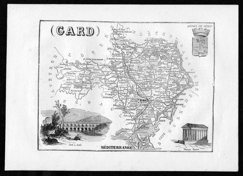 1860 - Gard Nimes Frankreich France Departement Karte map Holzstich