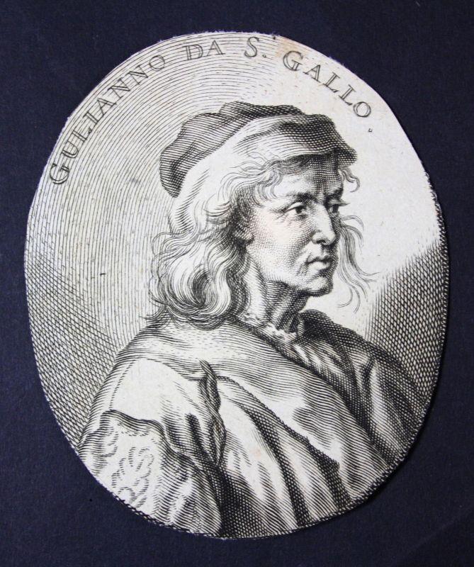 Giuliano da Sangallo Architekt architect Bildhauer sculptor Kupferstich Portrait