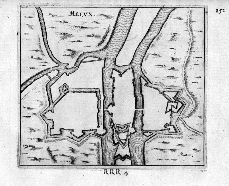 1666 - Melun Ile-de-France Frankreich France gravure estampe Kupferstich
