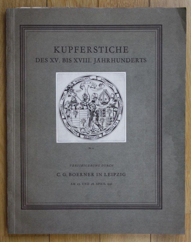 1931  Kupferstiche des XV. bis XVIII. Jahrhunderts Auktion Katalog Boerner