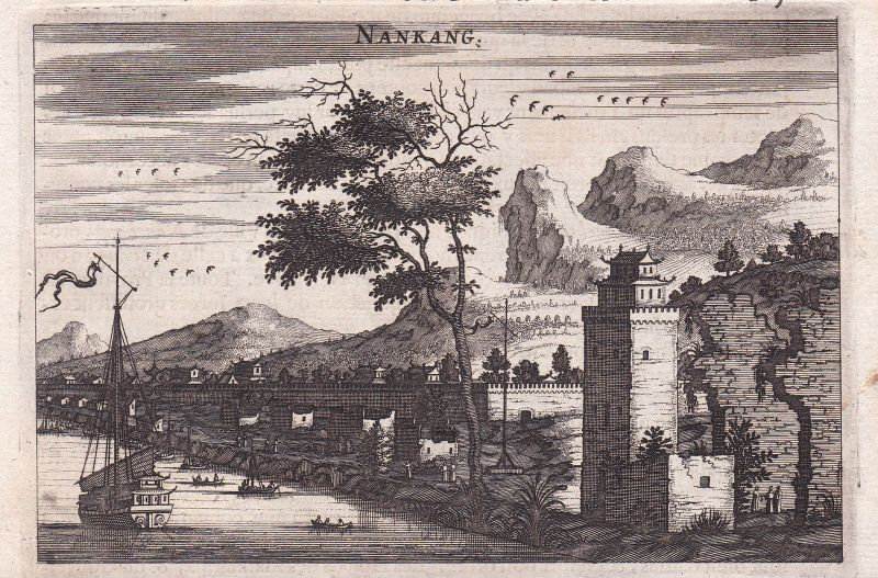 Nankang China view Ansicht Asia Mauer wall Kupferstich antique print Nieuhof