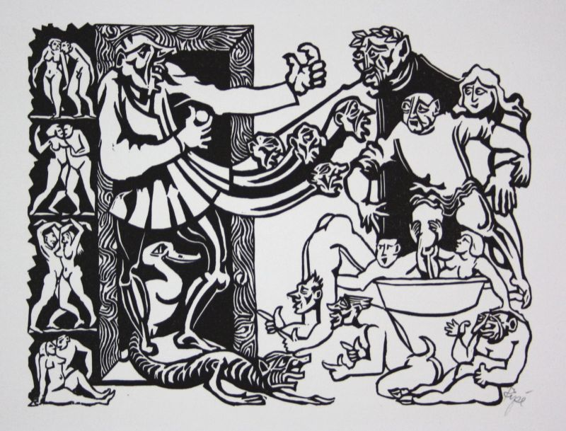 1975 Hermet Ripe Lockruf des Talers Linolschnitt signiert Grafik