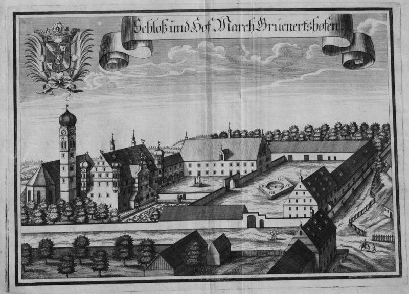 1701 - Grunertshofen Moorenweis Kupferstich Wening