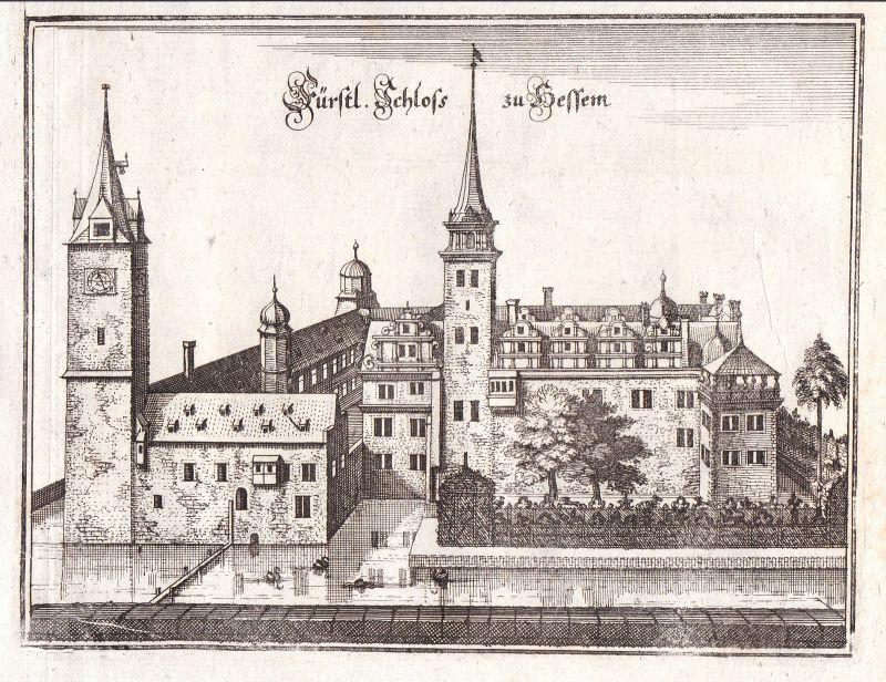 Hessen Schloss Sachsen-Anhalt Schlossanlage Merian Kupferstich antique print