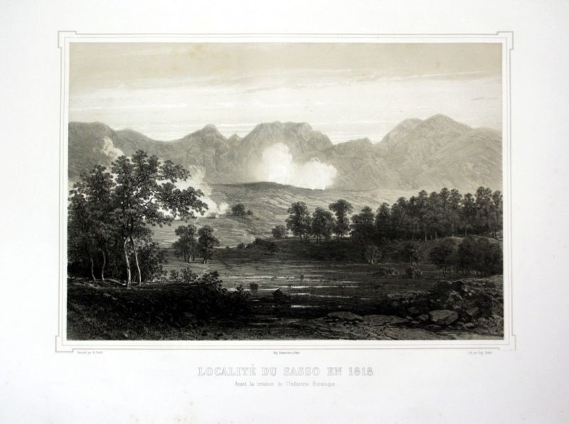 Ca. 1860 Sasso Pisano Toskana Tuscany Italia Italy veduta Lithographie Litho