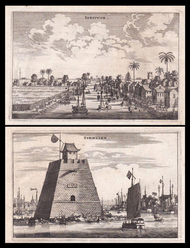 Tianjin Schiffe boats China Asia Ansicht view Kupferstich antique print Nieuhof