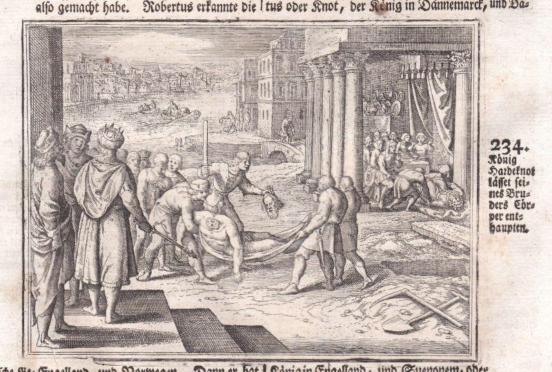 Ca. 1700 König king Denmark Dänemark Danmark Kupferstich antique print Merian