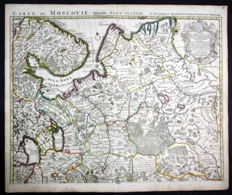 Ca. 1730 Russia St Petersburg map Karte Covens Mortier Kupferstich engraving