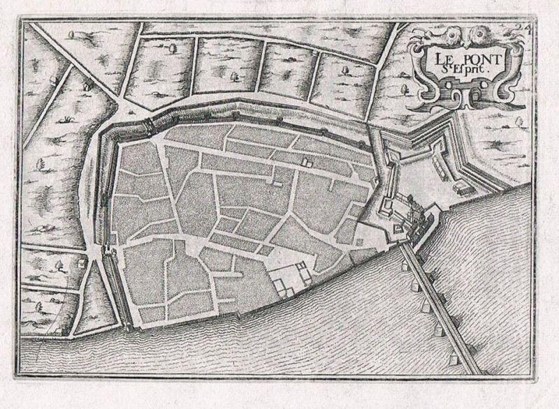 1660 - Pont-Saint-Esprit Languedoc-Roussillon Gard gravure Kupferstich Tassin