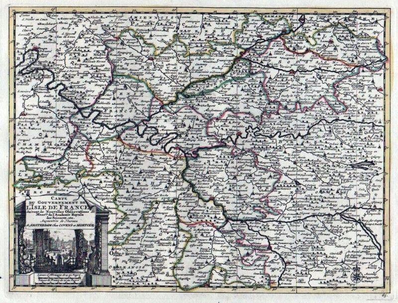 1735 - Paris Meaux Beauvais Soissins Melun Covens Mortier Karte map gravure