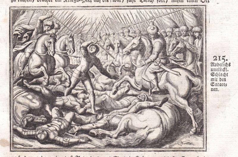 Ca. 1700 Roderich Roderic Schlacht battle Kupferstich antique print Merian