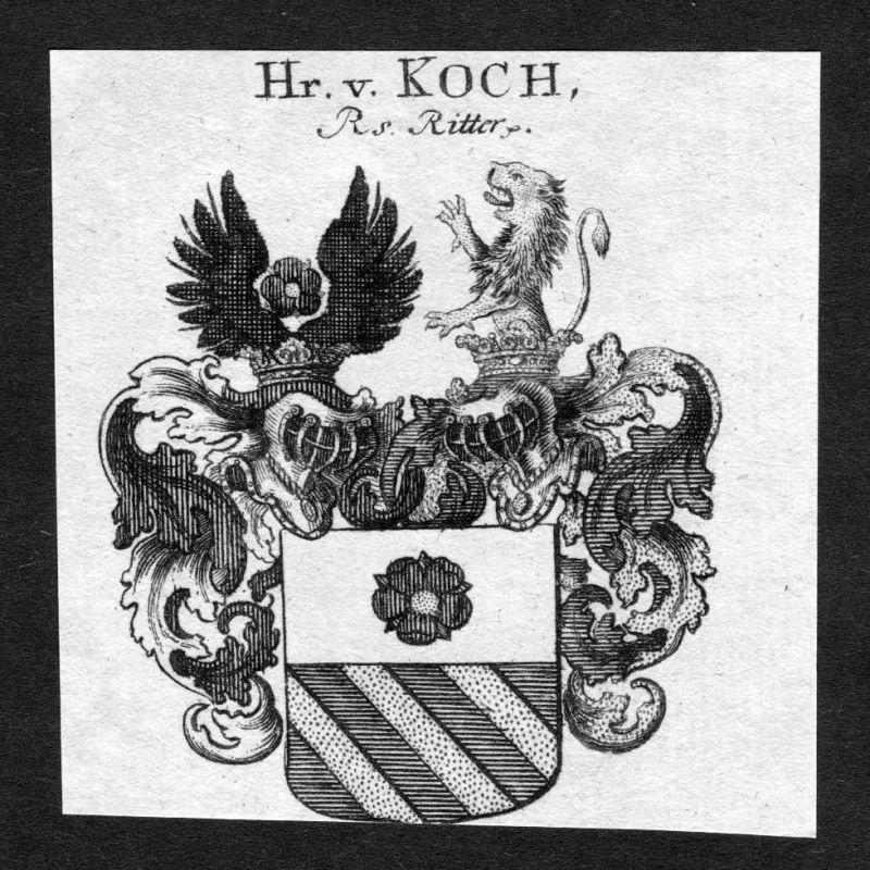 1820 - Koch Wappen Adel coat of arms heradlry Heraldik Kupferstich