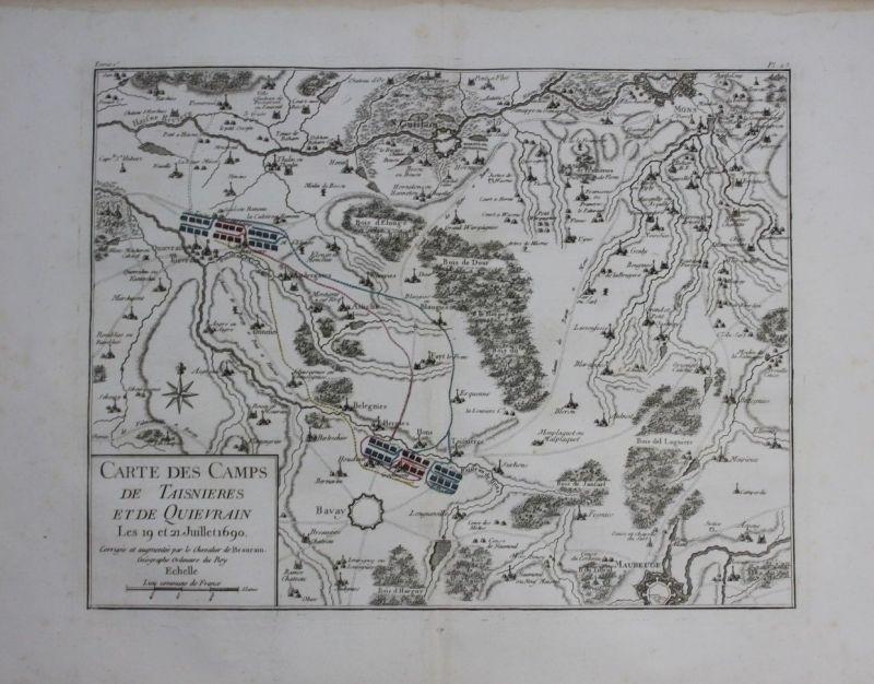 1760 Mons Saint Ghislain Bavay Maubeuge Quievrain map Karte Kupferstich gravure