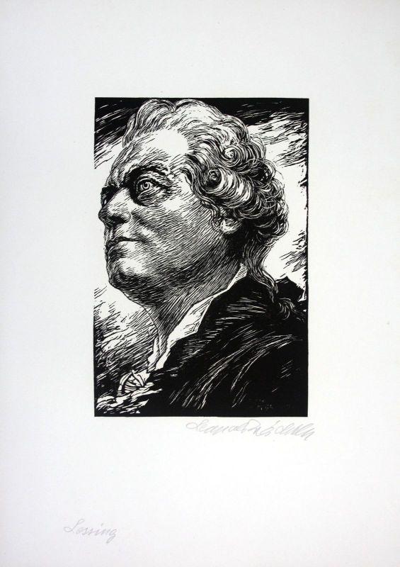 Gotthold Ephraim Lessing Holzschnitt signiert Portrait Leopold Wächtler