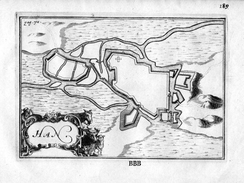 1666 - Han-sur-Meuse Lorraine Frankreich France gravure estampe Kupferstich