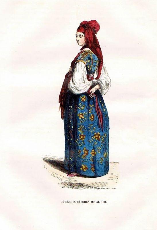 1845 Algier Alger Algerin Algerien Trachten Holzstich costumes antique print