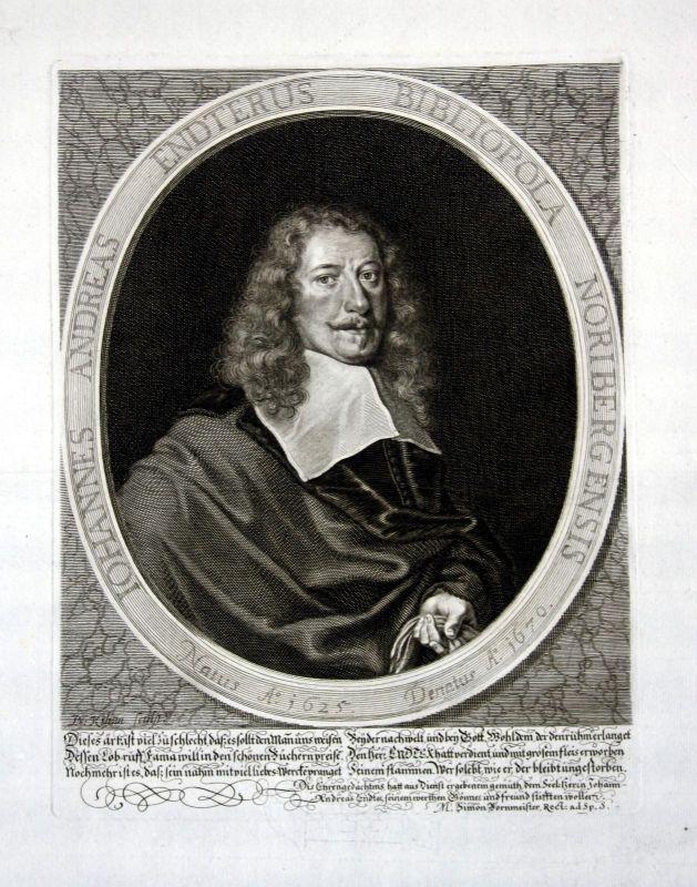 Ca. 1680 Johann Andreas Endter Buchhändler Nürnberg Kupferstich Portrait Kilian