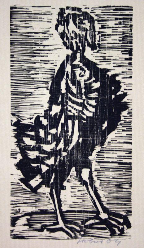 1974 Herbert Ott Truthahn Hahn Holzschnitt signiert Grafik