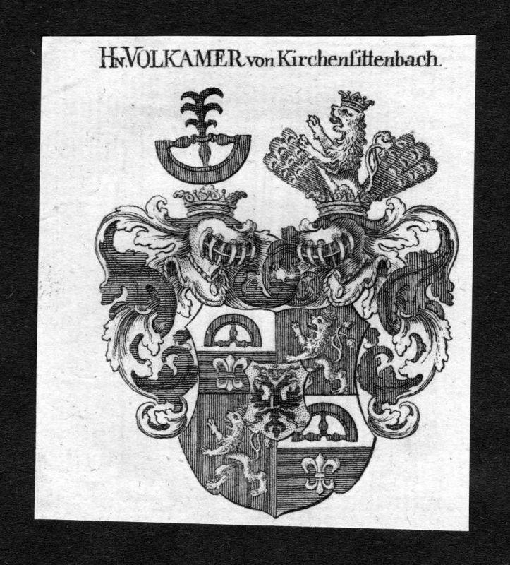 1820 Volkamer Volckamer von Kirchensittenbach Wappen Adel coat of arms He 126056