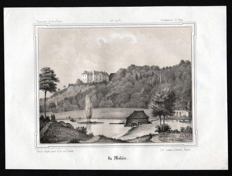 Ca. 1845 Roche-la-Moliere Redon Ille-et-Vilaine Bretagne France Lithographie