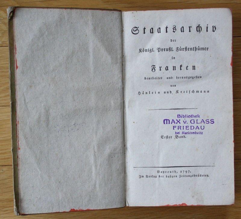 Hänlein / Kretschmann - Staatsarchiv d. Fürstenthümer in Franken Bayreuth 1797