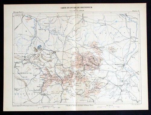 1880 - Braunschweig Hannover Hildesheim Hameln Uelzen Lithographie lithograph