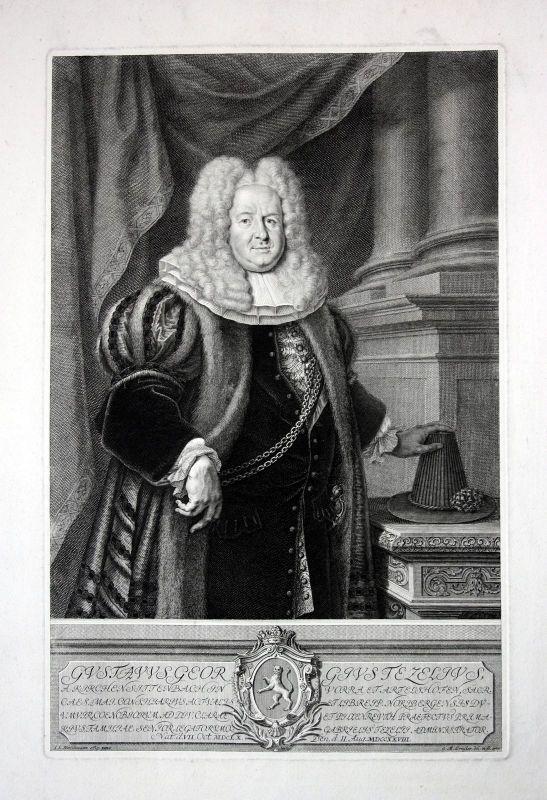 1733 Gustav Georg Tetzel Nürnberg Ratsherr Portrait Kupferstich Preißler