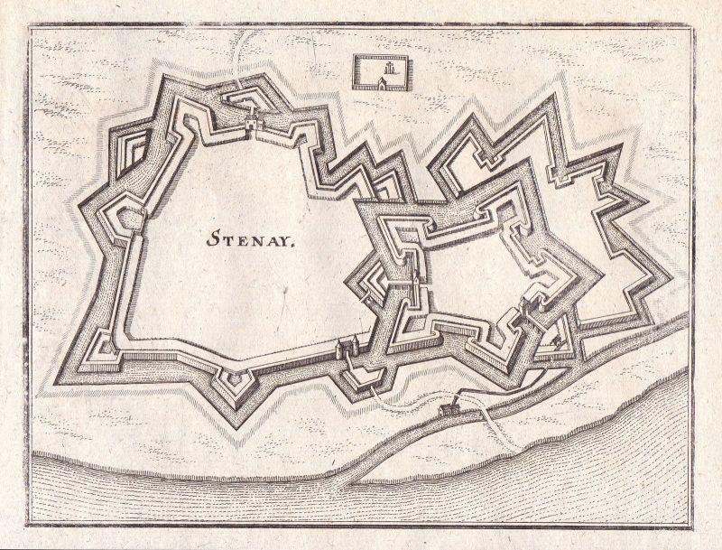 1650 Stenay Lothringen Frankreich Grundriss Merian Kupferstich antique print