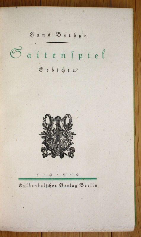 1922 Hans Bethge Saitenspiel Gedichte Erste Ausgabe Gyldendalscher Verlag