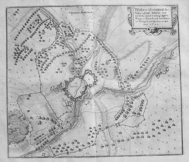 1650 - Arras Nord - Pas - de Calais Kupferstich Merian gravure estampe map carte