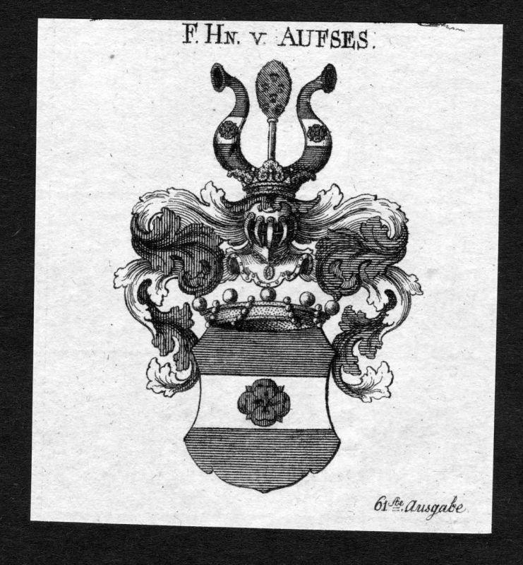 1820 - Aufses Aufseß Wappen Adel coat of arms heradlry Heraldik Kupferstich
