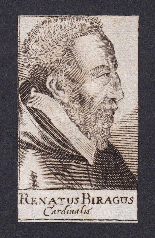 17. Jh. - Rene de Birague / cardinal Kardinal Paris Portrait Kupferstich