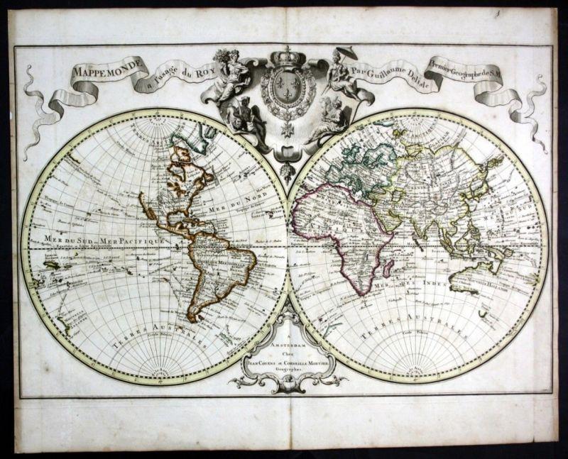1720 World map Weltkarte mappemonde Delisle Covens Mortier Karte Kupferstich