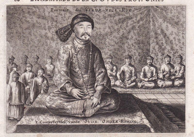 1670 China king König emperor Asia Portrait Kupferstich antique print Nieuhof