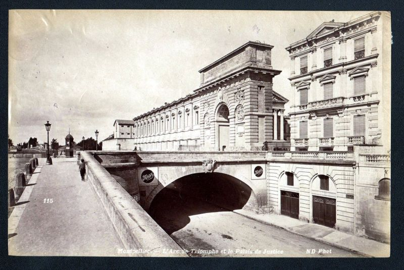 Ca. 1880 Arc de Triomphe Montpellier N. D. albumen Foto photo vintage antique
