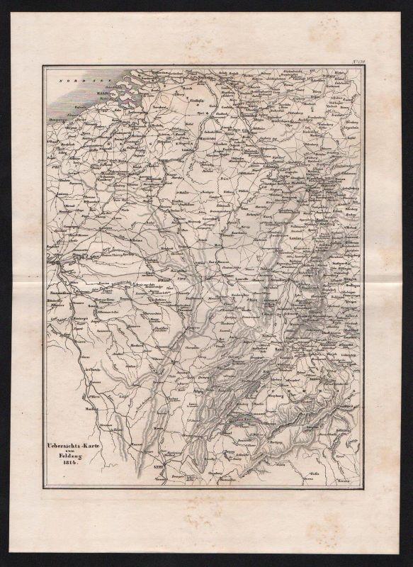 1840 - Frankreich Schweiz Deutschland Schlacht battle Karte map Stahlstich