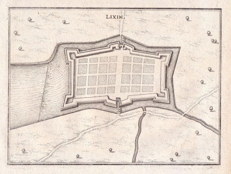 Lixheim Lixim Frankreich Lothringen Grundriss Merian Kupferstich antique print