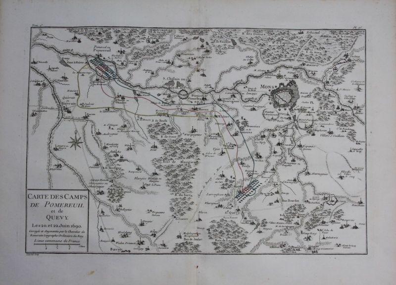 1760 - Mons Saint Ghislain Frameries Quevy map Karte Kupferstich gravure