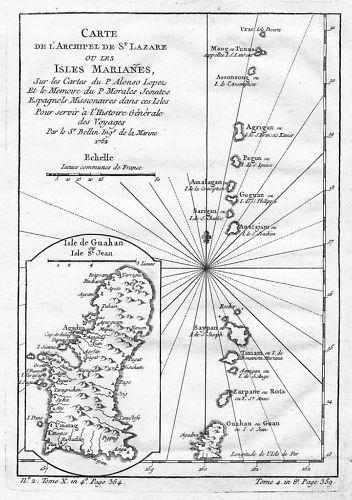 1780 - Mariana Islands Guam Islands Kupferstich Bellin