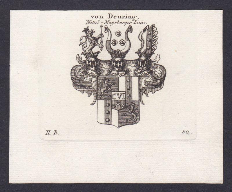Österreich Deuring Austria Wappen Adel coat of arms Kupferstich antique print