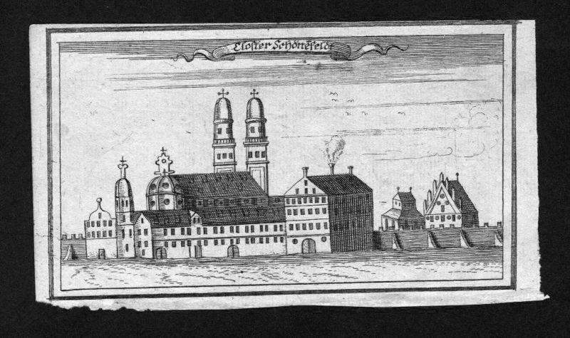 1700 - Niederschönefeld am Lech Kloster Bayern Original Kupferstich Ertl