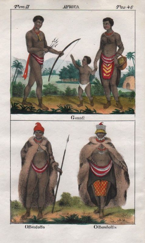 1840 - South Africa Khoikhoi people costume Lithograph Negro natives 67707