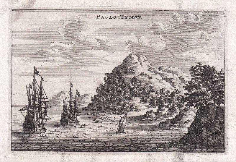 Ca. 1670 Pulau Tioman China Asia Ansicht view Kupferstich antique print Nieuhof