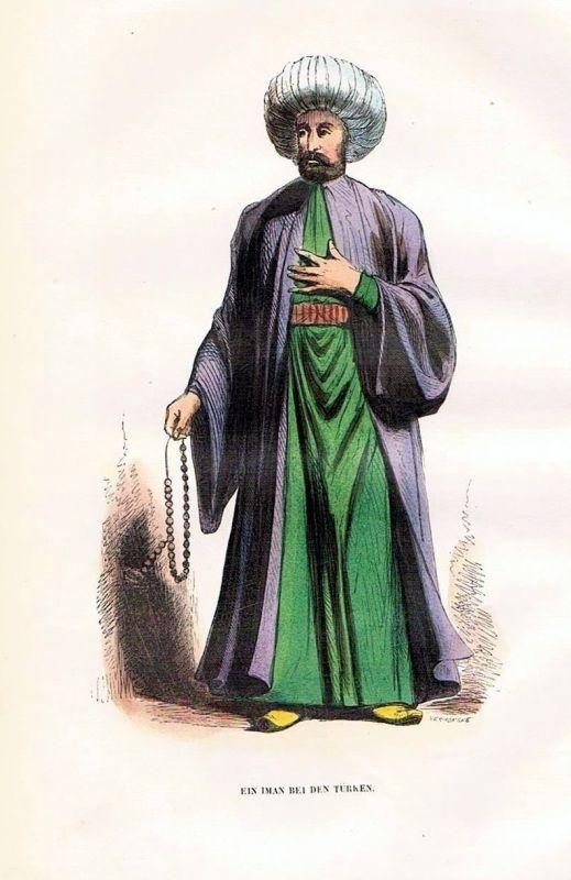 1845 - Iman Turkey Türkei Holzstich costumes antique print