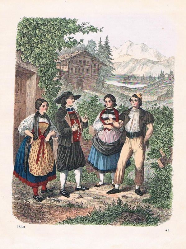1859 - Schweiz Trachten Tracht Suisse costumes Lithographie lithograph