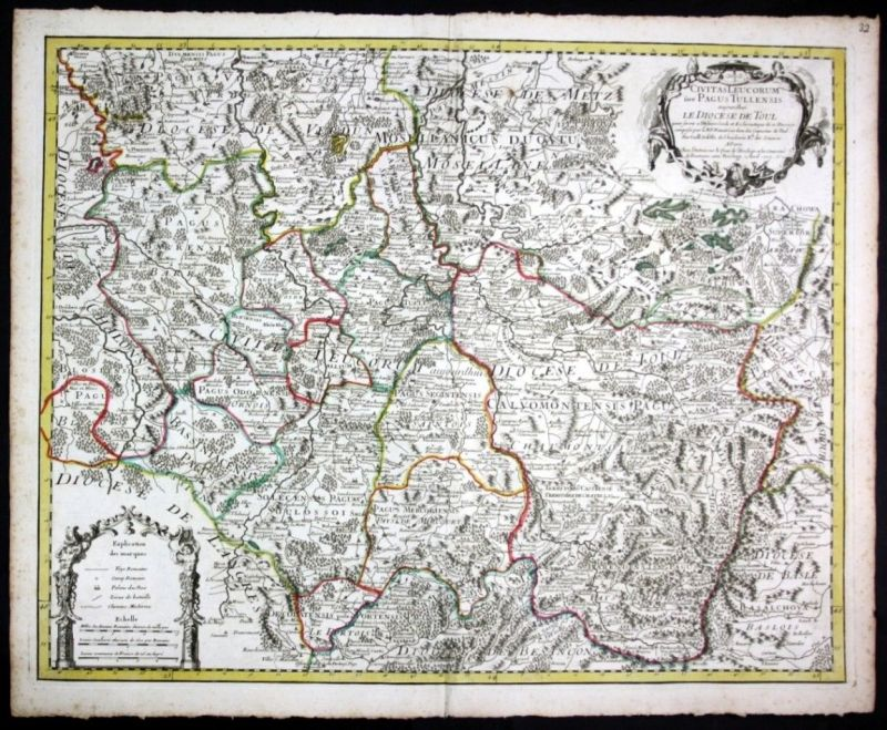 Ca. 1730 Toul Nancy Verdun Commercy map Karte Covens Mortier gravure